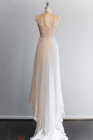 1980's Lace Pleated Gown - S/M