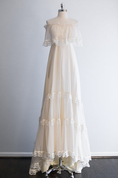 1970's Bohemian Off-The-Shoulder Gown - XS