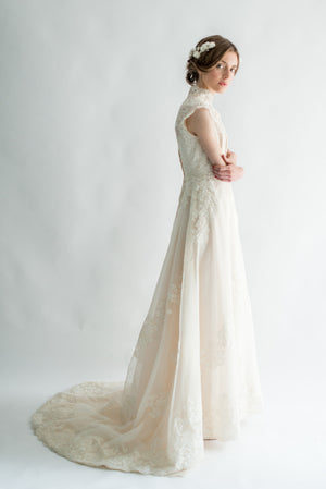 1950s Silk and Lace Gown - S/M