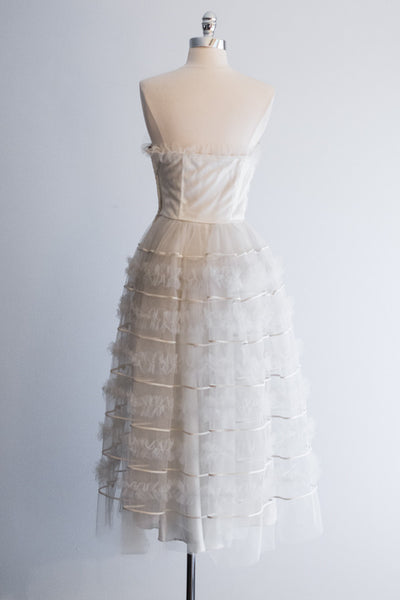 1950s White Tulle Ruffled Party Dress - XS