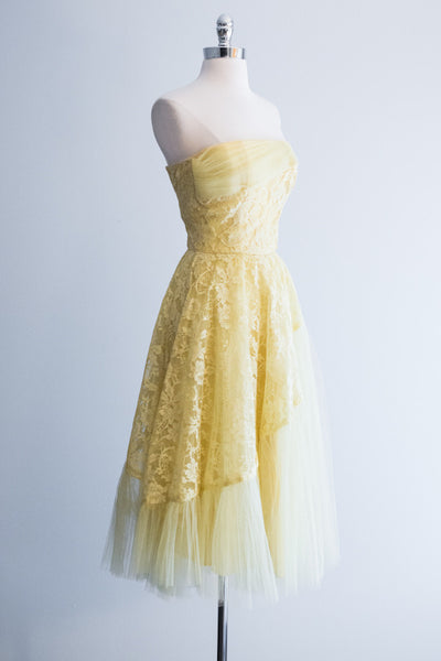 1950s Canary Yellow Tulle Dress - XS