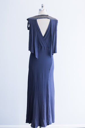 1930's Royal Blue Rayon Crepe Gown - XS