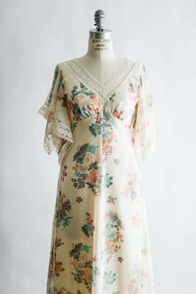 1970 Floral Print Flutter Sleeves Maxi Dress - S/M