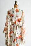 1970s Angel Sleeves Floral Maxi Gown - S/M