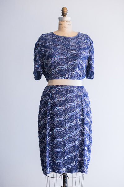 1980's Cobalt Blue Silk Beaded Dress - L