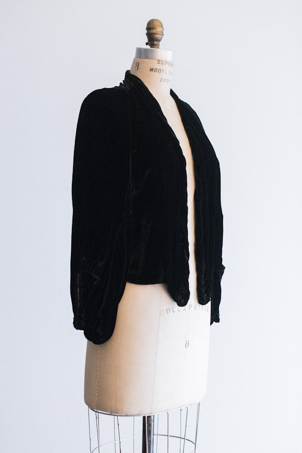 1930's Black Silk Velvet Jacket - S/M