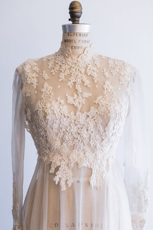 1980s Lace and Nylon Gown - S/M