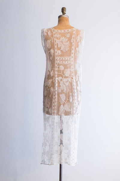 1920s Filet Lace Flapper Dress - M/L