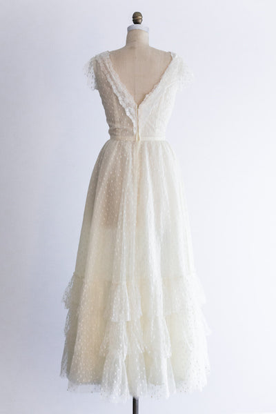 1970s Swiss Dot Tulle Gown - S/M