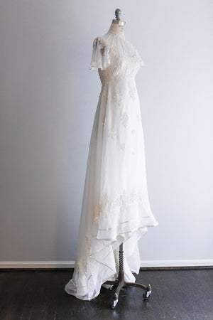 1970s White Chiffon Gown with Flower Embroidery - S