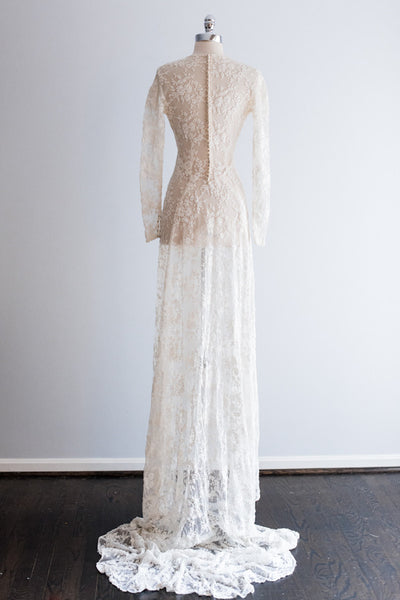 1930s Rare Handmade Lace Over Tulle Gown - S