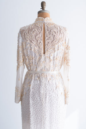 1980s Long Sleeved Chiffon Beaded Dress - L