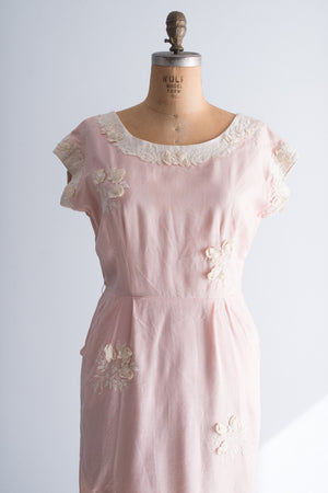 1950's Linen with Embroidered Flower Dress - L