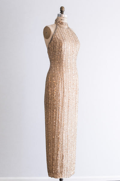 1980s Beaded Halter Column Dress - S/M