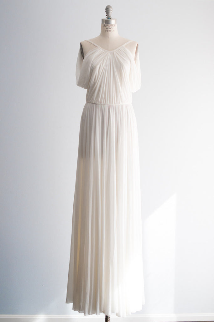 RENTAL White Draped Grecian Style Designer Gown - S/2 ...
