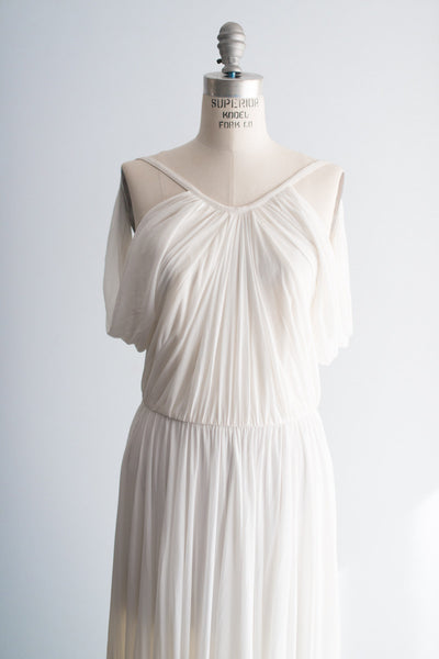 RENTAL White Draped Grecian Style Designer Gown - S/2