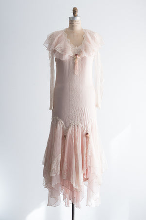 1980's Flapper-Inspired Lace Dress - S/M