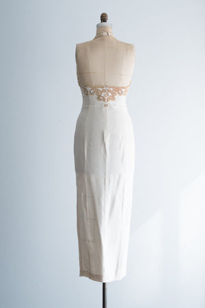 1980s Silk and Beaded Halter Gown - S/M
