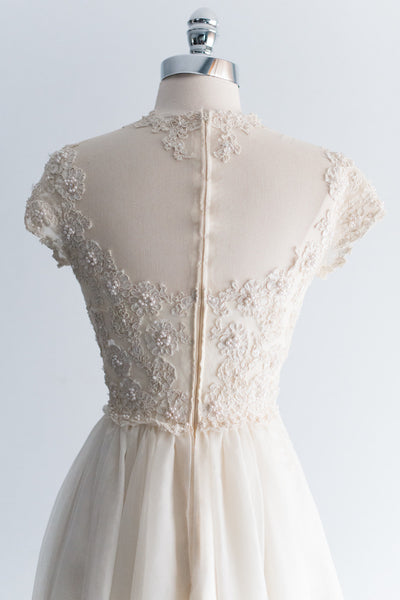 1950s Lace and Chiffon Gown - XS