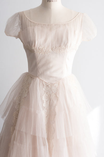 1950s Blush Pink Tulle Gown - S/M