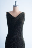 1980s Beaded Velvet Cowl Neck and Low-Back Gown - S