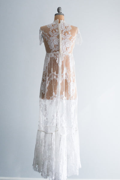 1960's Silk Chantilly Lace Gown - S
