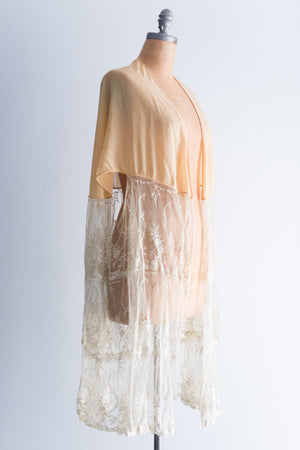 1920s Silk Chiffon and Lace Capelet/Wrap - One Size
