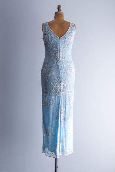 1980s Tulle Beaded Baby Blue Gown - M/L