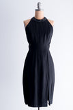 1980's Black Open Back Halter Dress - S/M