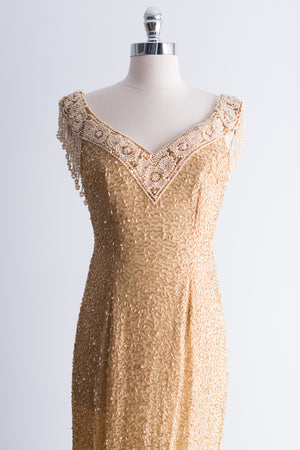 1980s Beaded Gold Dress - S