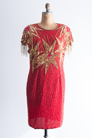 1980s Red and Gold Flapper Fringe Dress - L/XL
