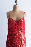 1980s Long Red Sequined Fringe Gown - L