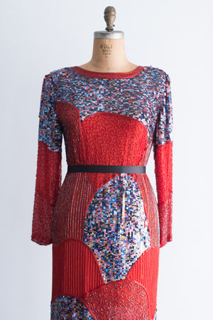 1980s Mosaic Red Column Gown - L
