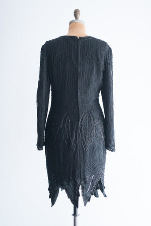 1980s Black Silk Beaded Dress - M/L