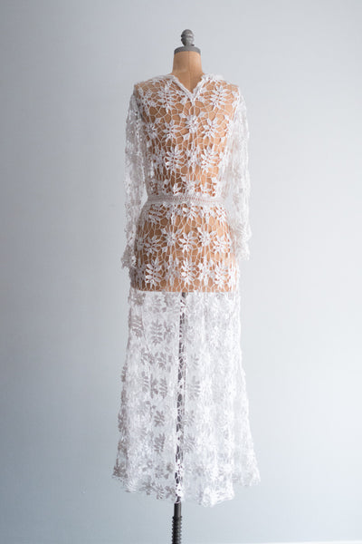 1970s Crochet Over Dress - S/M