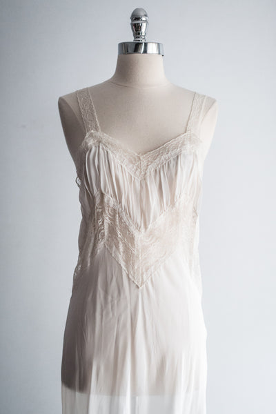 1930s Sheer Chiffon and Lace Slip - XS/S
