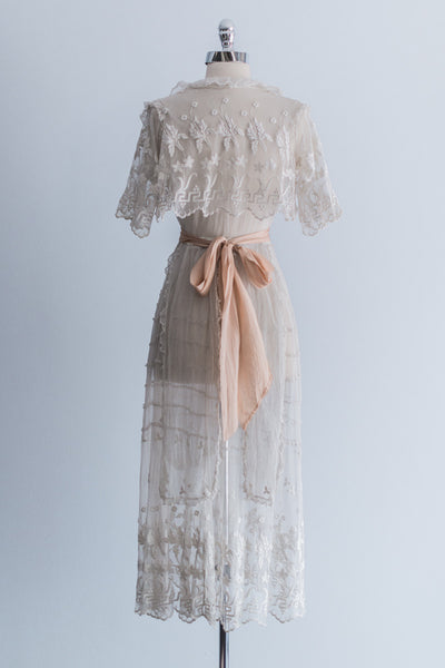 Edwardian Tea-Length Lace Lawn Dress - S