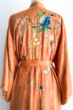 1930s/40s Orange Silk Embroidered Kimono - One Size