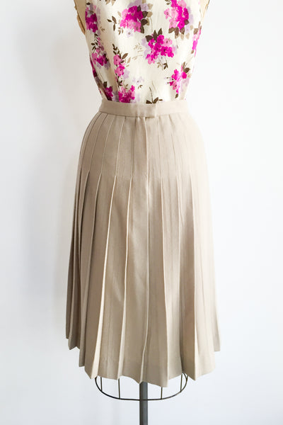 1960s Taupe Wool Skirt - S/M