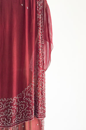 1920s Silk Red Flapper Dress - XS/S