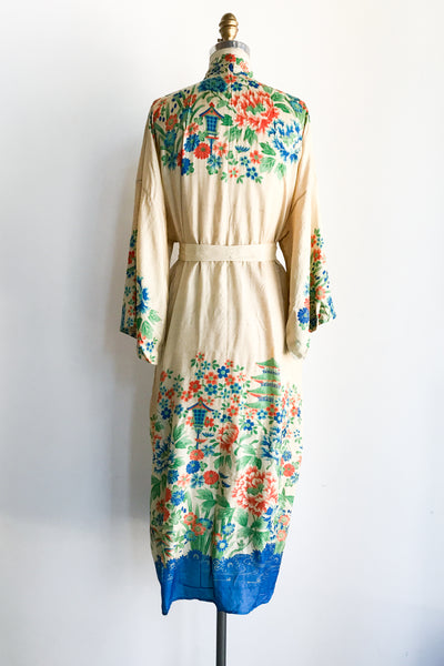 1920s Pongee Silk Floral Dressing Robe - One Size