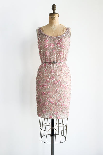 1960s Silk Beaded Shift  Dress - XS/S