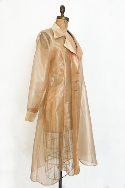 1980s Sheer Gold Long Duster/Jacket - One Size