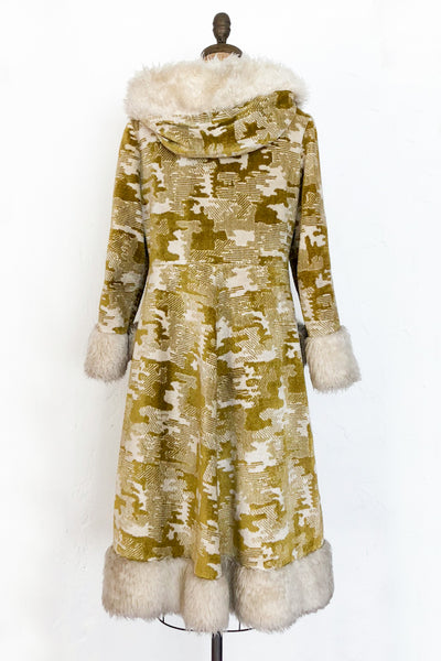1960s Chartreuse Hooded Tapestry Coat - M