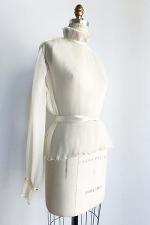 Vintage Ivory Pleated Top - S/M