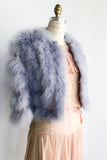 1970s Lavender Cropped Feather Jacket - S/M