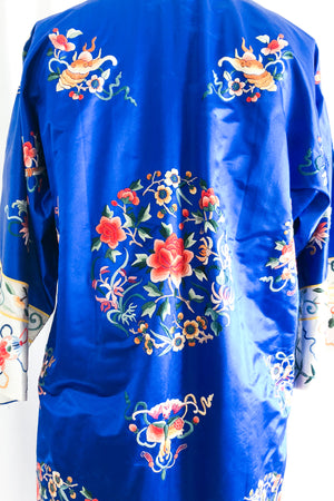 Vintage Royal Blue Chinese Silk Floral Embroidered Robe - M
