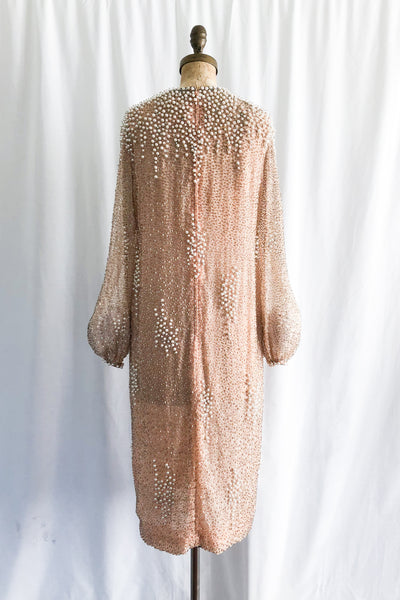 1960s Peach Silk Chiffon Embellished Dress - M