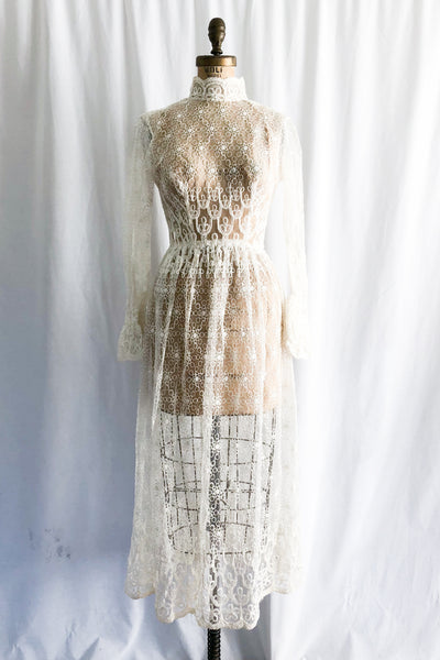 1970s Embroidered Lace Dress - S