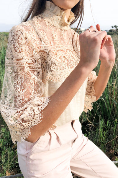 1970s Ecru Lace and Cotton Elastic Top - S/M